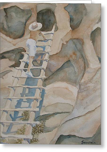 Cliff Dwellings Greeting Cards - Ladder to the Past Greeting Card by Jenny Armitage