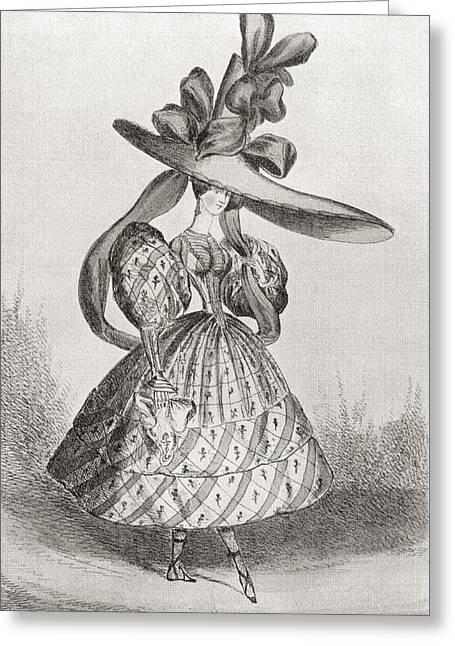 Full Skirt Greeting Cards - Ladies Fashion In 1828, Wasp Waist Greeting Card by Ken Welsh