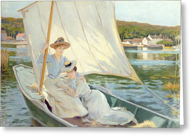 Calm Paintings Greeting Cards - Ladies in a Sailing Boat  Greeting Card by Jules Cayron