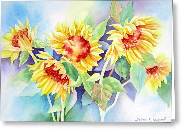 Deb Ronglien Watercolor Greeting Cards - Ladies In Waiting Greeting Card by Deborah Ronglien