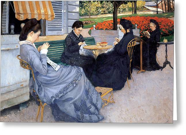 Benches And Chairs Greeting Cards - Ladies Sewing Greeting Card by Gustave Caillebotte