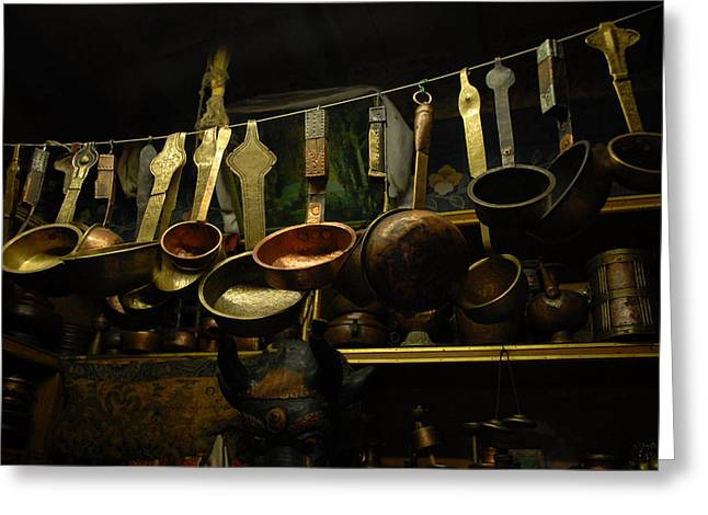 Brass Greeting Cards - Ladles of Tibet Greeting Card by Donna Caplinger