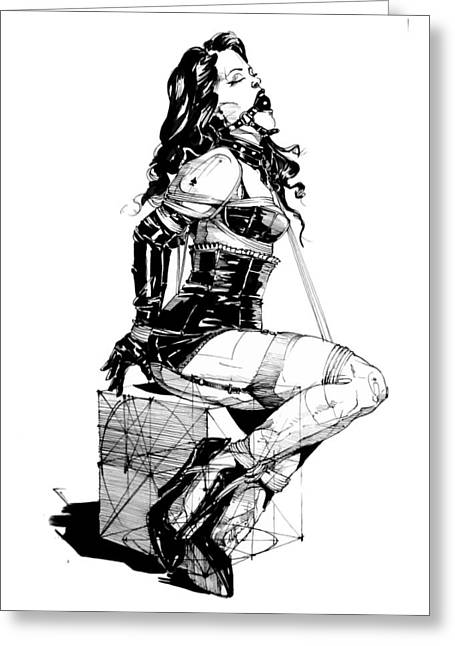 Straps Drawings Greeting Cards - Lady 046 Greeting Card by Yury Fadeev