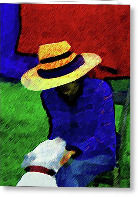 Lady And Puppy Painting Greeting Card by Miss Pet Sitter