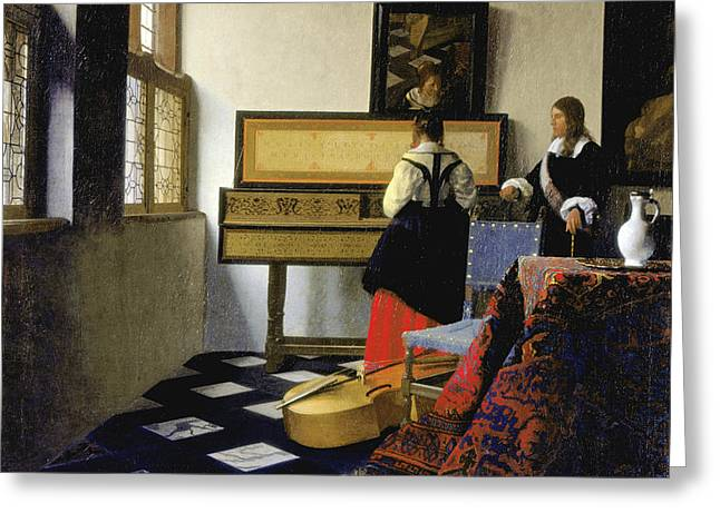 Lady At The Virginal With A Gentleman Greeting Card by Jan Vermeer