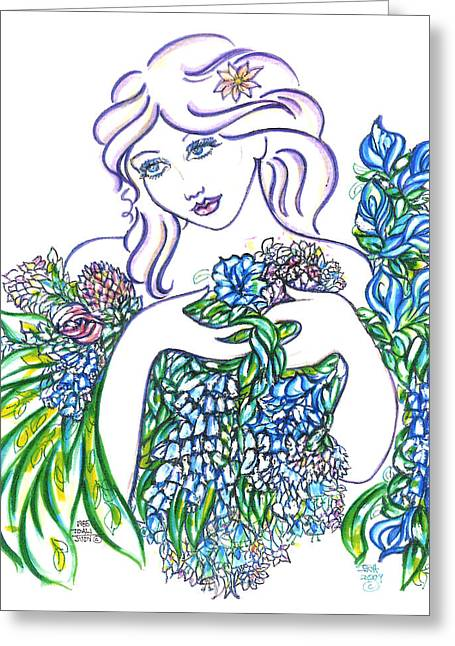 Collection Drawings Greeting Cards - Lady Blossom  Greeting Card by Judith Herbert