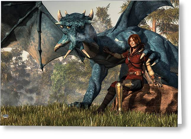 Best Sellers -  - Dungeons Greeting Cards - Lady Blue Dragon Greeting Card by Daniel Eskridge