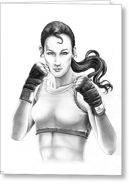 Boxer Drawings Greeting Cards - Lady Boxer Greeting Card by Murphy Elliott