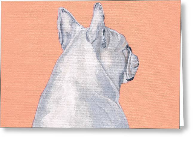 Bulldog Paintings Greeting Cards - Lady Greeting Card by Brian Ogi