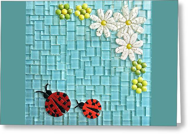 Lady Glass Greeting Cards - Lady bugs Mosaic Greeting Card by Orlando Doncel
