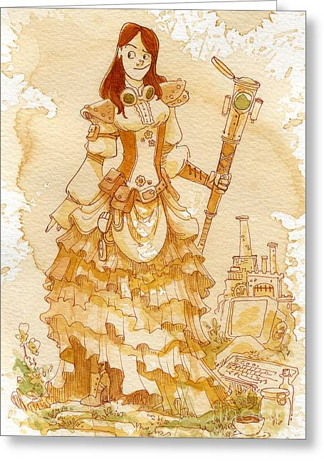 Girls Greeting Cards - Lady Codex Greeting Card by Brian Kesinger