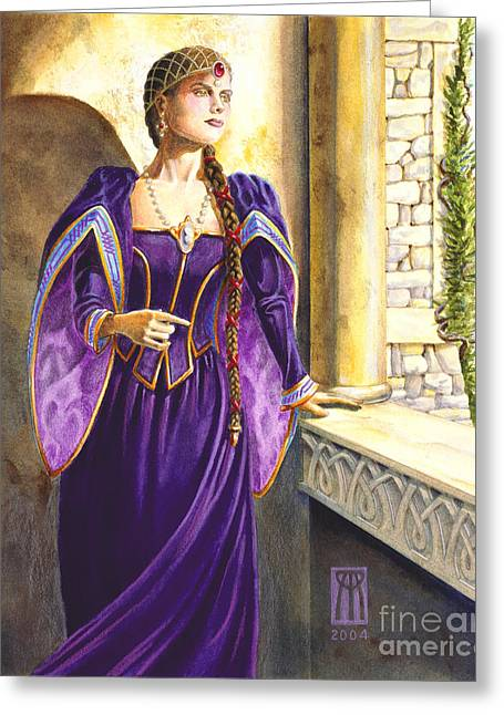 Camelot Greeting Cards - Lady Ettard Greeting Card by Melissa A Benson