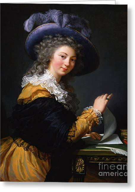 Lady Folding A Letter Greeting Card by Celestial Images