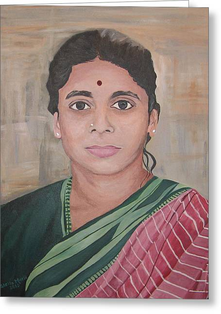 Stella Sherman Greeting Cards - Lady from India Greeting Card by Stella Sherman