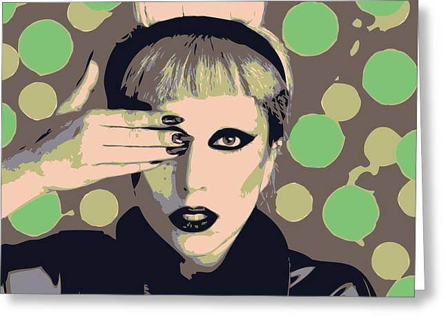 Lisa Noneman Mixed Media Greeting Cards - Lady Gaga Greeting Card by Lisa Noneman