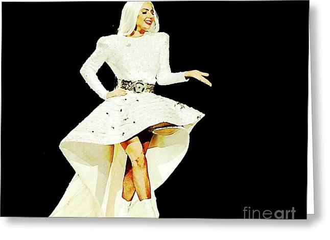 Lady Gaga On The Fashion Runway Greeting Card by John Malone