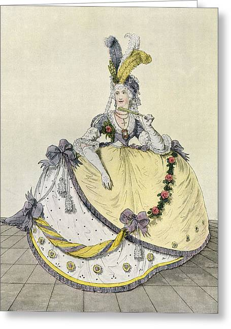 Ball Gown Greeting Cards - Lady In A Ball Gown At The English Greeting Card by Ken Welsh