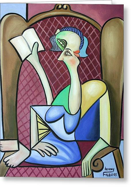 Cubist Greeting Cards - Lady In A Winged Back Chair Greeting Card by Anthony Falbo