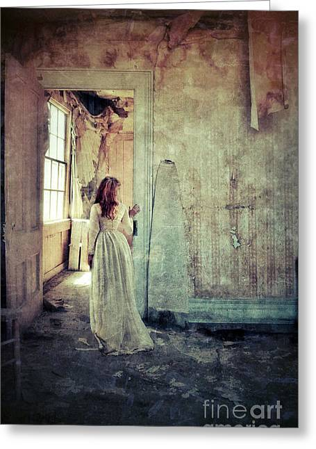 Recently Sold -  - Ghostly Greeting Cards - Lady in an Old Abandoned House Greeting Card by Jill Battaglia