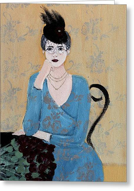 1920s Drawings Greeting Cards - Lady in Blue Seated Greeting Card by Susan Adams