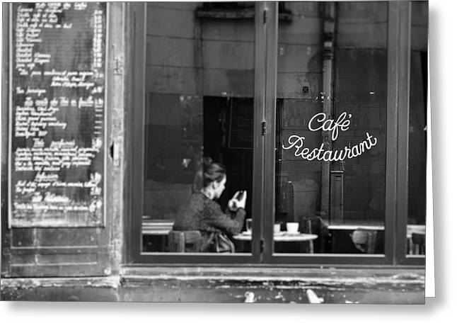 Greeting Cards - Lady in Cafe, Paris Greeting Card by Ivy Ho