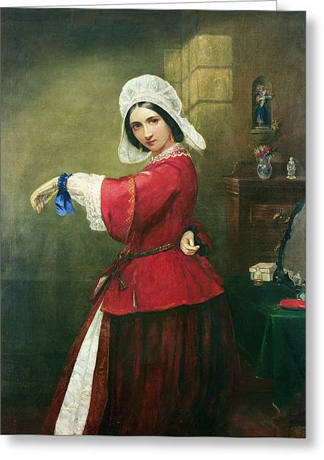 A Kiss Greeting Cards - Lady in French Costume Greeting Card by Edmund Harris Harden