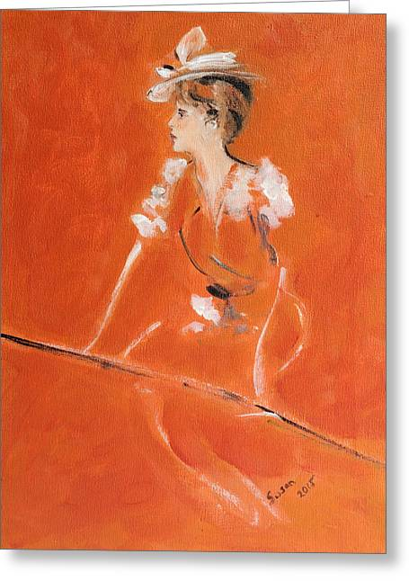 1920s Drawings Greeting Cards - Lady In Orange Greeting Card by Susan Adams