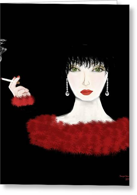 Cigarette Greeting Cards - Lady in Red Art Deco Greeting Card by Tanya Van Gorder