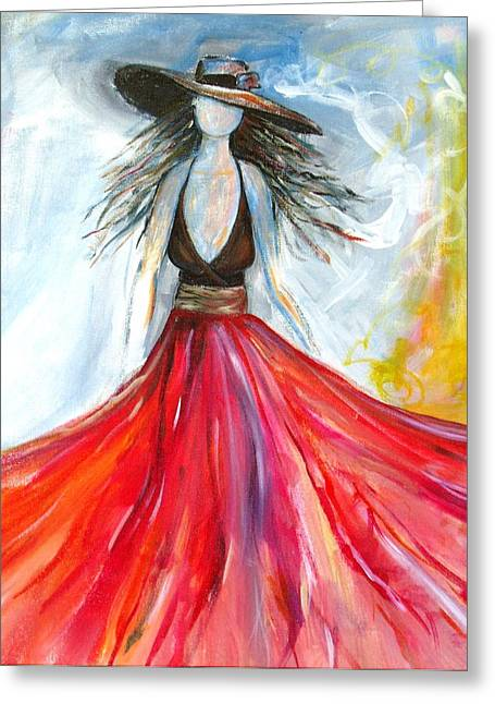 Lady In Red Greeting Card by Ellen Burns