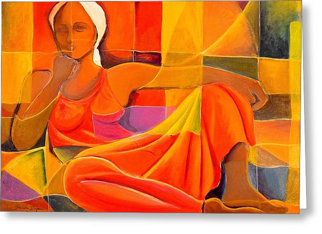 Shades Of Red Greeting Cards - Lady In Red Greeting Card by Sandra Dopson