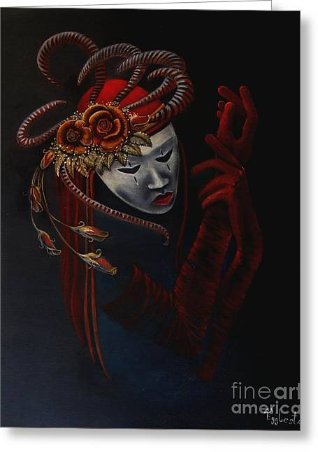 Lady In Red Greeting Card by Shauna Eggleston