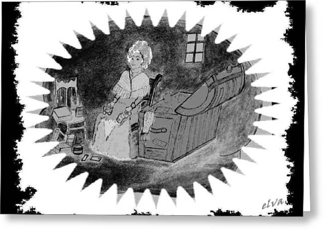 Pencil On Canvas Greeting Cards - Lady In The Attic Greeting Card by Elva Kimble