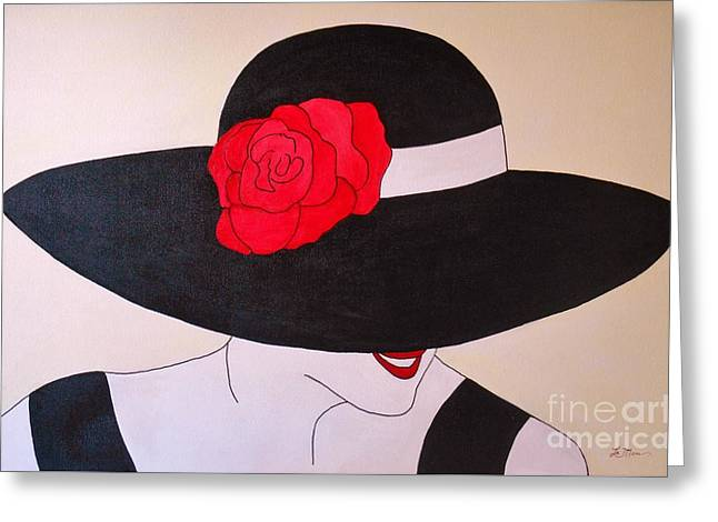Royal Art Greeting Cards - Lady in the Black Hat Greeting Card by Sue La Marr  Kramer