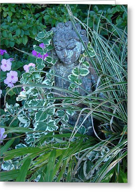 Garden Statuary Greeting Cards - Lady in the Garden Greeting Card by Jan Johnsen