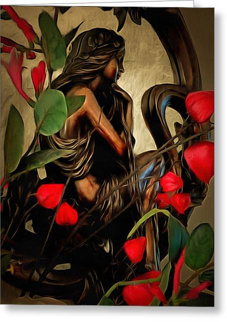 Pensive Greeting Cards - Lady in the Looking Glass Greeting Card by Dorothy Berry-Lound
