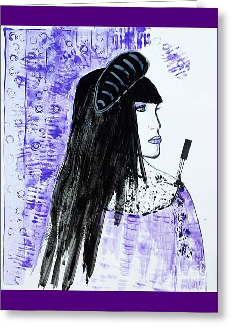 Art Book Greeting Cards - Lady in the purple  Greeting Card by Jasna Gopic
