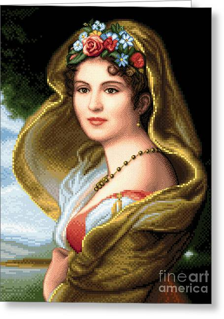 Lady Tapestries - Textiles Greeting Cards - Lady in veil Greeting Card by Stoyanka Ivanova