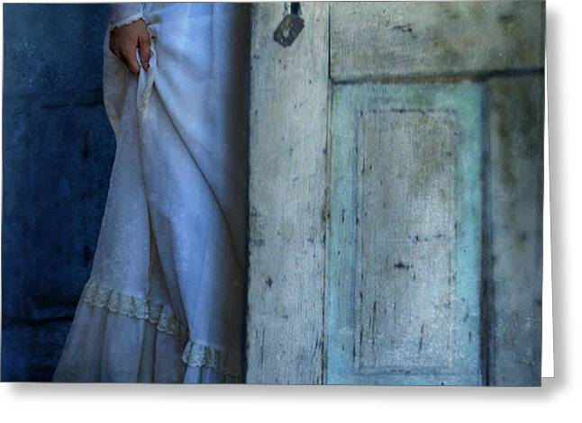 Lady in Vintage Clothing Hiding Behind Old Door Greeting Card by Jill Battaglia