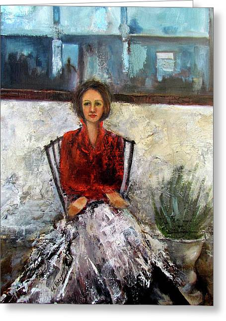 Pallet Knife Greeting Cards - Lady in Waiting Greeting Card by Mary St Peter