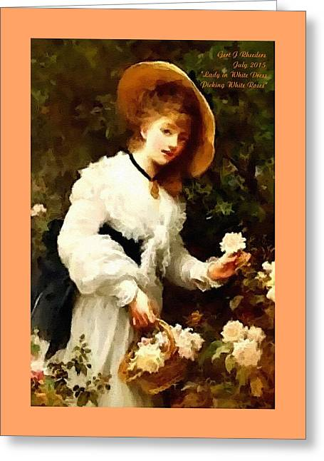 Abstract Digital Pastels Greeting Cards - Lady In White Dress Picking White Roses H A Greeting Card by Gert J Rheeders