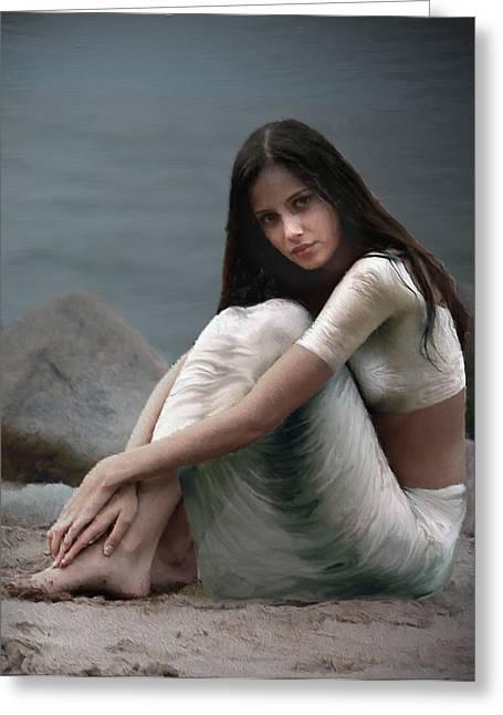 Loose Hair Greeting Cards - Lady In White Greeting Card by Shreeharsha Kulkarni