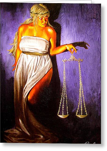 Lady Justice Long Scales Greeting Card by Laura Pierre-Louis
