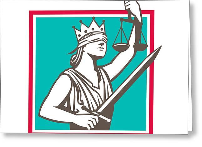Lady Justice Raising Scales Sword Square Retro Greeting Card by Aloysius Patrimonio