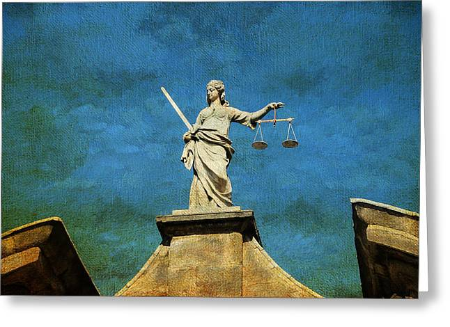 Lady Justice. Streets Of Dublin. Painting Collection Greeting Card by Jenny Rainbow