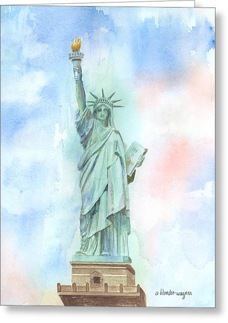 Lady Liberty Greeting Card by Arline Wagner