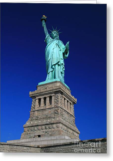 4th July Greeting Cards - Lady Liberty Ellis Island NYC Greeting Card by Wayne Moran