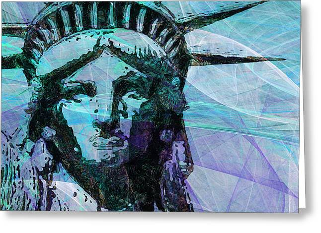 Lady Liberty Head 20150928 Square P150 Greeting Card by Wingsdomain Art and Photography