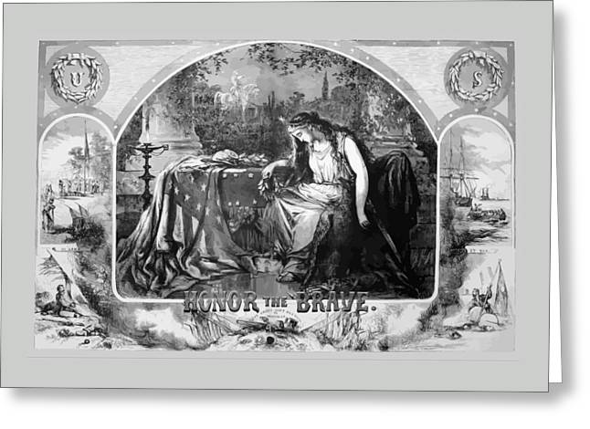 Lady Liberty Mourns During The Civil War Greeting Card by War Is Hell Store