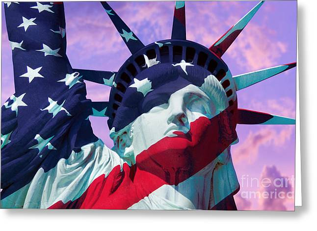 Lady Photographs Greeting Cards - Lady Liberty Patriot Greeting Card by Jon Neidert