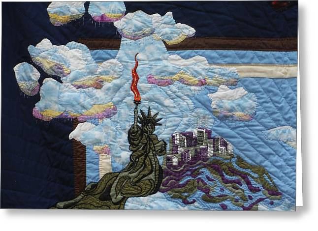 City Tapestries - Textiles Greeting Cards - Lady Liberty Greeting Card by Shirley Goss